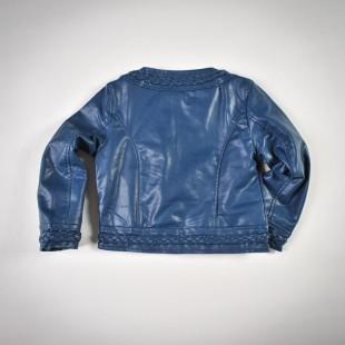 Фото: Куртка кожаная темно-синего цвета с плетением (артикул O 10072-deep blue) - изображение 4