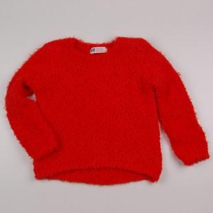 Фото: Свитер с удлиненной спинкой красного цвета (артикул O 20119-red) - изображение 3