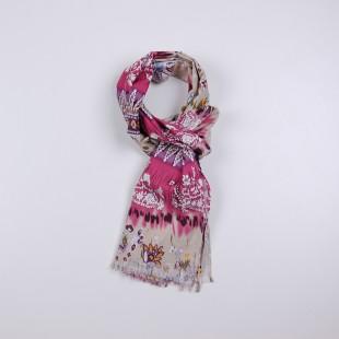 Шарф розовый с цветочным принтом