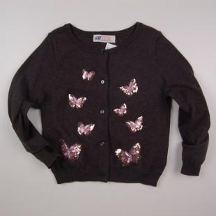 Фото: Кардиган  с бабочками для девочки (артикул O 20115-dark grey) - изображение 3
