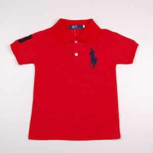 Фото: Детская футболка поло красного цвета (артикул RL 40001-red) - изображение 3