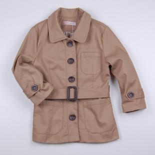 Фото: Плащ на пуговицах с накладными карманами (артикул O 10212-beige) - изображение 3