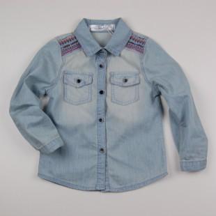 Фото: Джинсовая рубашка с вышивкой (артикул O 30147-jeans) - изображение 3