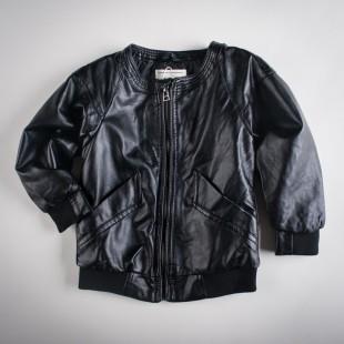 Фото: Куртка кожаная с латками на локтях (артикул O 10105-black) - изображение 3