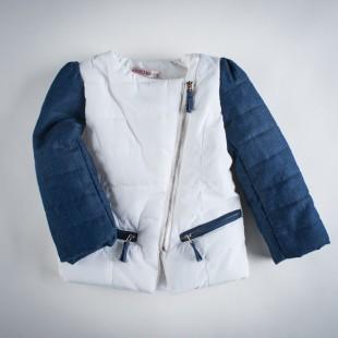 Фото: Куртка с джинсовыми рукавами (артикул O 10102-white) - изображение 3