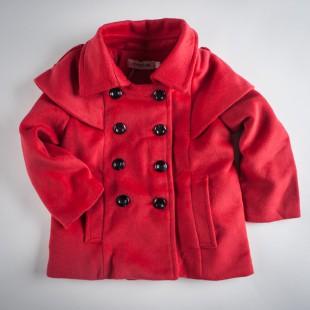Фото: Красное пальто с накидкой на плечах (артикул O 10104-red) - изображение 3
