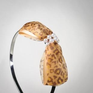 Обруч с леопардовым бантом