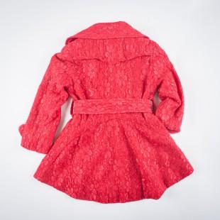 Фото: Плащ гипюровый красного цвета (артикул O 10137-red) - изображение 4