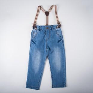 Фото: Джинсы светлые с подтяжками (артикул Z 60134-jeans) - изображение 3