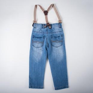 Фото: Джинсы светлые с подтяжками (артикул Z 60134-jeans) - изображение 4
