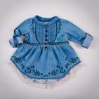 Фото: Платье-туника с вышивкой цветочков (артикул Gs 30020-jeans) - изображение 6