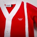 Фото: Красная кофта с манжетами в полоску (артикул O 20033-red) - изображение 5