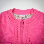 Фото: Укороченная кожаная куртка девочке (артикул O 10072-pink) - изображение 5