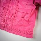 Фото: Укороченная кожаная куртка девочке (артикул O 10072-pink) - изображение 6