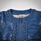 Фото: Куртка кожаная темно-синего цвета с плетением (артикул O 10072-deep blue) - изображение 5