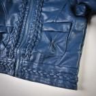 Фото: Куртка кожаная темно-синего цвета с плетением (артикул O 10072-deep blue) - изображение 6