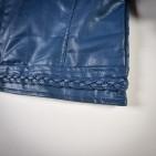 Фото: Куртка кожаная темно-синего цвета с плетением (артикул O 10072-deep blue) - изображение 7