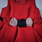Фото: Теплое платье с цветами на поясе (артикул O 50144-red) - изображение 5