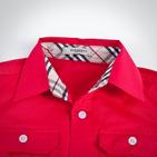 Фото: Красная рубашка со вставками по бокам (артикул B 30011-red) - изображение 5