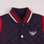 Фото: Куртка стеганая с красными рукавами (артикул O 10156-deep blue-red) - изображение 6