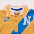 Фото: Фирменная футболка для мальчика с синей полосой (артикул O 40106-yellow-blue) - изображение 5
