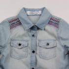 Фото: Джинсовая рубашка с вышивкой (артикул O 30147-jeans) - изображение 5