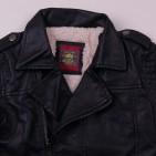 Фото: Кожаная куртка со стёгаными рукавами (артикул O 10260-black) - изображение 5