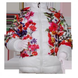 Куртка на синтепоне с цветочным принтом
