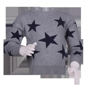 Свитер серого цвета со звездами детям