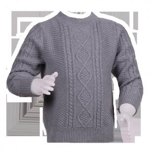 Серый фирменный свитер с вязаным орнаментом