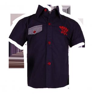 Рубашка с карманом в клетку темно-синяя