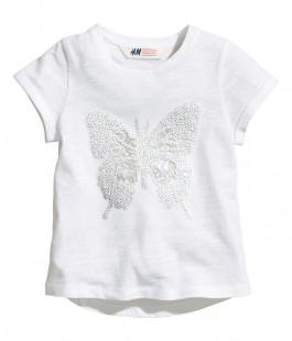 Фото: Белая футболка с принтом бабочки из пайеток (артикул O 40124-white) - изображение 3