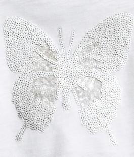 Фото: Белая футболка с принтом бабочки из пайеток (артикул O 40124-white) - изображение 4