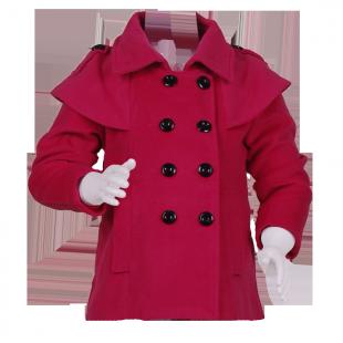 Красное пальто с накидкой на плечах