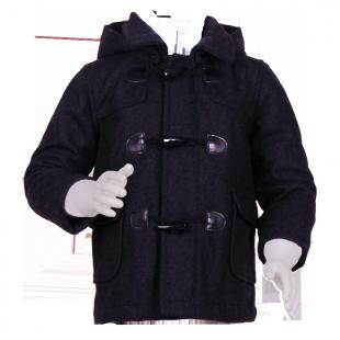 Headrush. Тёмное пальто с капюшоном и пуговицами-клыками