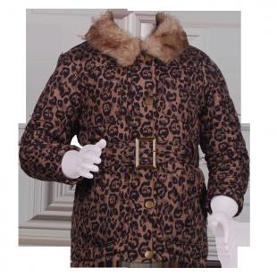 Стеганное пальто с леопардовым принтом