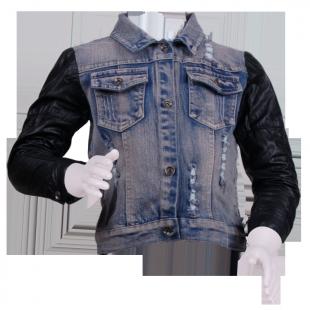 Куртка джинсовая с кожаными рукавами