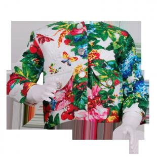 Белый пиджак с цветочным принтом