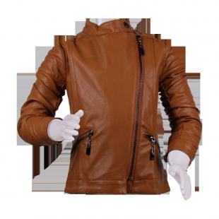 Куртка коричневого цвета с воротником-стойкой