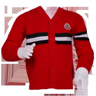 Красная кофта Монклер с полоской