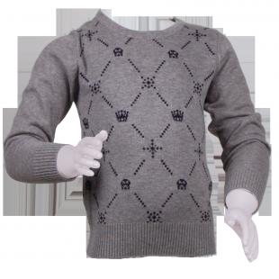 Серый свитер для мальчика с рисунком