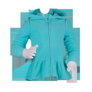Фото: Толстовка для девочки бирюзового цвета (артикул O 20122-azure) - изображение 2