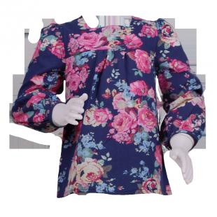 Туника темно-синяя с цветочным принтом