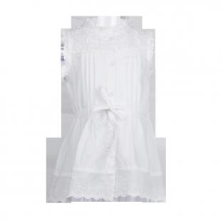 . Туника с ажурным верхом белого цвета