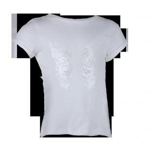 Белая футболка с принтом бабочки из пайеток
