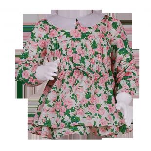 Туника на поясе с цветочным  принтом