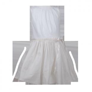 Белое платье с золотистым отливом на юбке