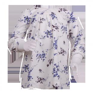 . Indigo kids. Белая детская туника с голубыми цветочками