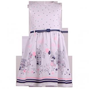 Белое платье для девочки с модным рисунком