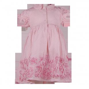 . Розовое платье для девочки с цветами из ткани